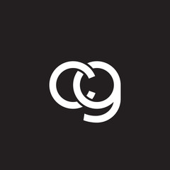 Initial lowercase letter cg, overlapping circle interlock logo, white color on black background