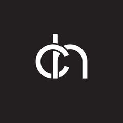 Initial lowercase letter ch, overlapping circle interlock logo, white color on black background
