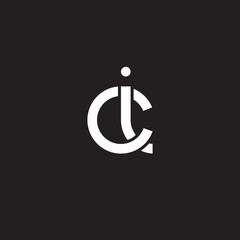 Initial lowercase letter ci, overlapping circle interlock logo, white color on black background