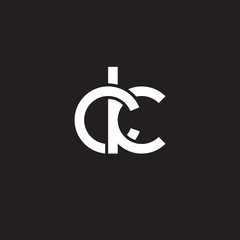 Initial lowercase letter ck, overlapping circle interlock logo, white color on black background