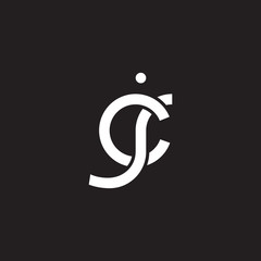 Initial lowercase letter cj, overlapping circle interlock logo, white color on black background