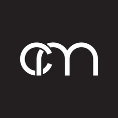 Initial lowercase letter cm, overlapping circle interlock logo, white color on black background