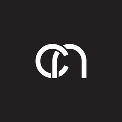 Initial lowercase letter cn, overlapping circle interlock logo, white color on black background