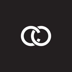 Initial lowercase letter co, overlapping circle interlock logo, white color on black background