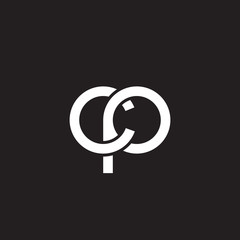 Initial lowercase letter cp, overlapping circle interlock logo, white color on black background