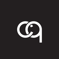 Initial lowercase letter cq, overlapping circle interlock logo, white color on black background