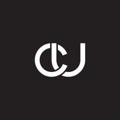Initial lowercase letter cu, overlapping circle interlock logo, white color on black background