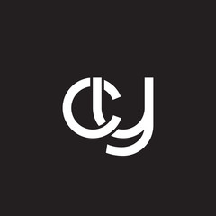 Initial lowercase letter cy, overlapping circle interlock logo, white color on black background