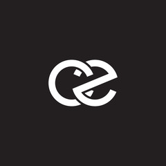 Initial lowercase letter cz, overlapping circle interlock logo, white color on black background