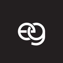 Initial lowercase letter eg, overlapping circle interlock logo, white color on black background