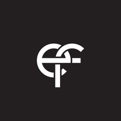 Initial lowercase letter ef, overlapping circle interlock logo, white color on black background