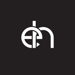Initial lowercase letter eh, overlapping circle interlock logo, white color on black background