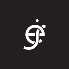 Initial lowercase letter ej, overlapping circle interlock logo, white color on black background