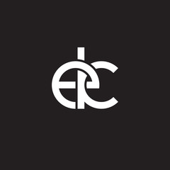 Initial lowercase letter ek, overlapping circle interlock logo, white color on black background