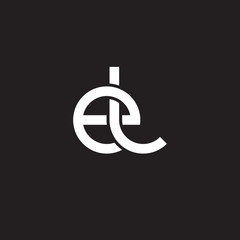 Initial lowercase letter el, overlapping circle interlock logo, white color on black background