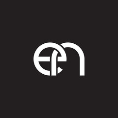 Initial lowercase letter en, overlapping circle interlock logo, white color on black background