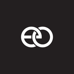 Initial lowercase letter eo, overlapping circle interlock logo, white color on black background