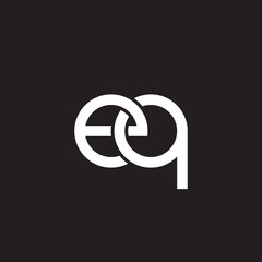 Initial lowercase letter eq, overlapping circle interlock logo, white color on black background