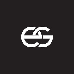 Initial lowercase letter es, overlapping circle interlock logo, white color on black background