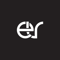 Initial lowercase letter ev, overlapping circle interlock logo, white color on black background