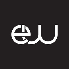 Initial lowercase letter ew, overlapping circle interlock logo, white color on black background