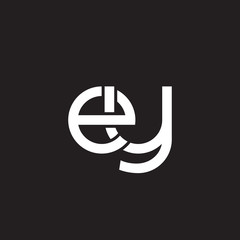 Initial lowercase letter ey, overlapping circle interlock logo, white color on black background
