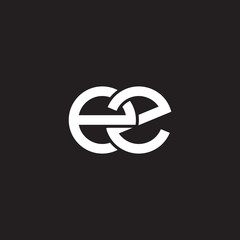 Initial lowercase letter ez, overlapping circle interlock logo, white color on black background
