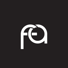 Initial lowercase letter fa, overlapping circle interlock logo, white color on black background