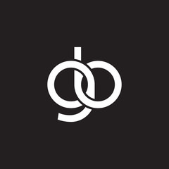 Initial lowercase letter gb, overlapping circle interlock logo, white color on black background