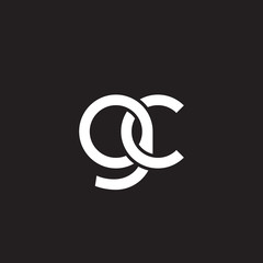 Initial lowercase letter gc, overlapping circle interlock logo, white color on black background