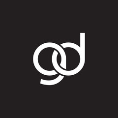 Initial lowercase letter gd, overlapping circle interlock logo, white color on black background
