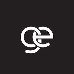 Initial lowercase letter ge, overlapping circle interlock logo, white color on black background