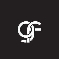Initial lowercase letter gf, overlapping circle interlock logo, white color on black background