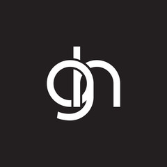 Initial lowercase letter gh, overlapping circle interlock logo, white color on black background