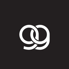 Initial lowercase letter gg, overlapping circle interlock logo, white color on black background