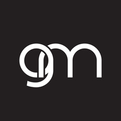 Initial lowercase letter gm, overlapping circle interlock logo, white color on black background