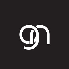 Initial lowercase letter gn, overlapping circle interlock logo, white color on black background