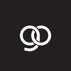 Initial lowercase letter go, overlapping circle interlock logo, white color on black background