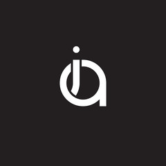 Initial lowercase letter ia, ai, overlapping circle interlock logo, white color on black background