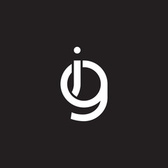Initial lowercase letter ig, gi, overlapping circle interlock logo, white color on black background