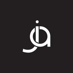 Initial lowercase letter ja, overlapping circle interlock logo, white color on black background