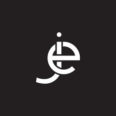Initial lowercase letter je, ej, overlapping circle interlock logo, white color on black background