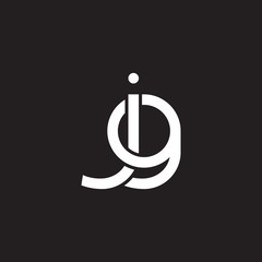 Initial lowercase letter jg, overlapping circle interlock logo, white color on black background