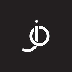 Initial lowercase letter jo, oj, overlapping circle interlock logo, white color on black background