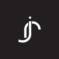 Initial lowercase letter jr, rj, overlapping circle interlock logo, white color on black background
