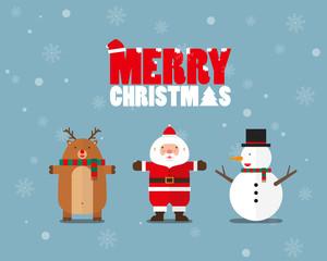 Reindeer Santa Claus Snowman Merry Christmas flat design on light blue background
