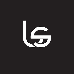 Initial lowercase letter ls, overlapping circle interlock logo, white color on black background