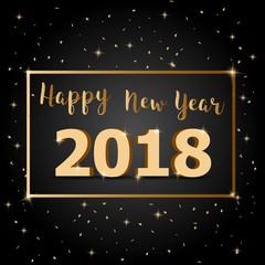 Golden Happy New Year 2018 with dark background