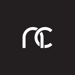 Initial lowercase letter nc, overlapping circle interlock logo, white color on black background