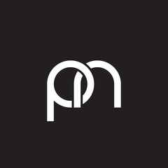Initial lowercase letter pn, overlapping circle interlock logo, white color on black background